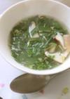 モロヘイヤとシイタケのかきたま風スープ