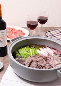 牛肉と水菜の赤ワインしゃぶしゃぶ