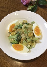 ブロッコリーと卵のアボカド和風サラダ