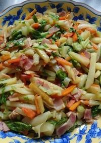 セロリとベーコン、ジャガ芋のコンソメ炒め