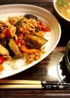 豚肉と茄子のソース炒め丼