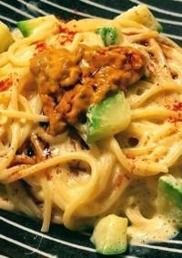 小豆島野菜と壱岐島の生うにクリームパスタ