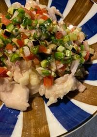 夏野菜たっぷり!水晶鶏和風サルサソース