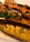 鮭とナスの梅バター醤油焼き