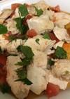 蒸し鶏とトマトの生姜タレ和え