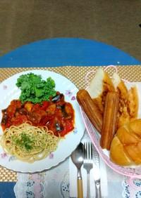 トマトソース煮込み編ラタトゥィユ+豚肉!