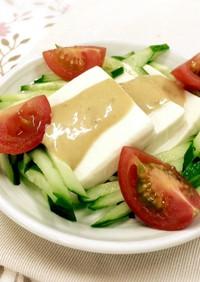 手作りドレッシングで豆腐の棒棒鶏風サラダ