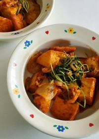 キムチと厚揚げの炒め物