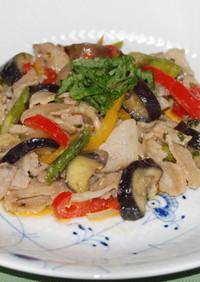 豚バラ肉と彩り野菜の青じそ味噌炒め♪