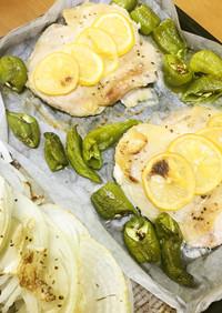しし唐と鶏肉のレモン焼き