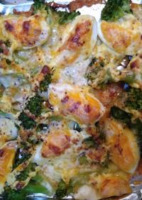 ブロッコリーと茹で卵のマヨ&チーズ焼き
