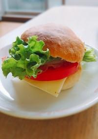 バンズ手作り☆ベーコンと野菜のバーガー