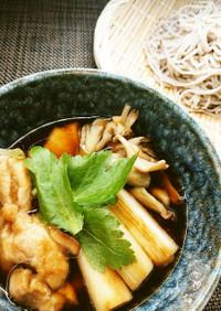 鶏肉と舞茸の出汁が美味しい!つけ蕎麦♪