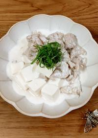 薄切り肉と豆腐の豆乳煮