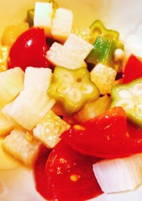 スピード副菜!長芋オクラトマトの和え物