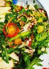 春菊、タコ、カブ、茗荷、塩昆布のサラダ