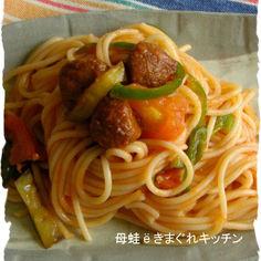 簡単ё夏野菜ミートボールナポリタン風
