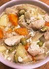 鶏ササミと枝豆のタップリ野菜ミルクスープ