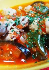 トリッパ風♡夏野菜のトマトもつ煮込み