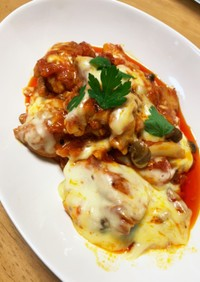 鶏肉とキノコのトマトチーズ煮込み