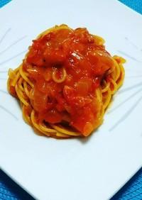 トマトと新玉葱のかにクリームスパゲティ♡