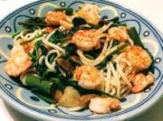小豆島の空心菜で五島うどんペペロンチーノの写真
