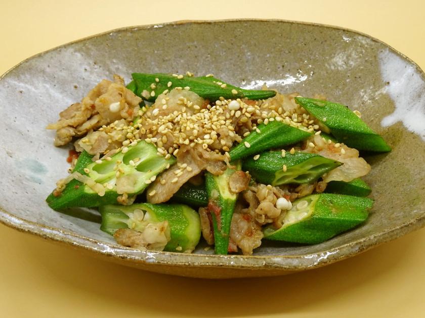 オクラと豚肉の梅風味炒め【JA福岡市】