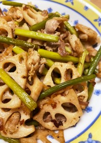 豚肉と蓮根のガーリック炒め◆スタミナ料理
