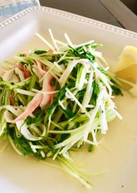 水菜とカニカマの炒め物♩レモンで味が絶品