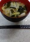 ❄白菜とミョウガとワカメの味噌汁❄