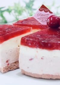 オーブン不要で苺ムースチーズケーキ
