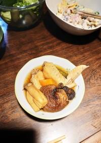 手羽先と根菜の含め煮。