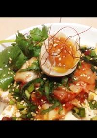 時短常備菜で鶏ハム味玉簡単キム冷し素麺