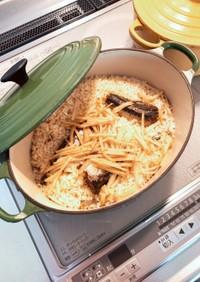 イワシ缶お鍋で炊き込みご飯