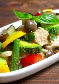 旨味たっぷり!夏野菜と高野豆腐の洋風炒め