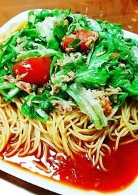 トマトジュースと夏野菜の冷製パスタ