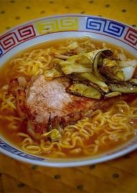 朝ラーwith トンロース&甘酢キャベツ