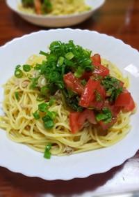 トマトと大葉のソースでさっぱりツナパスタ