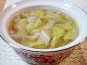 レタスと豚挽肉のスープ