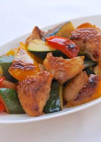 [10分肴]ぼんじりと夏野菜の甘酢焼き