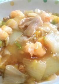 豚バラと白菜と海老で簡単なコクウマ中華丼