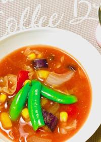 夏野菜たっぷりのアツアツ味噌スープ