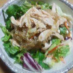 低糖質☆ごま風味の鶏ところてんサラダ