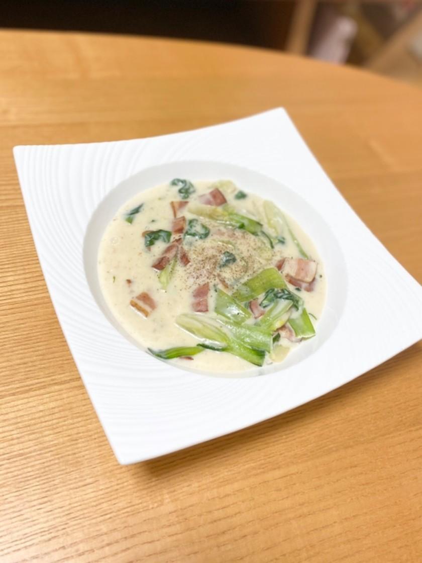ベーコンと青梗菜のクリーム煮