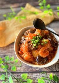 ☆海老チリとろっと茄子の半熟卵丼☆