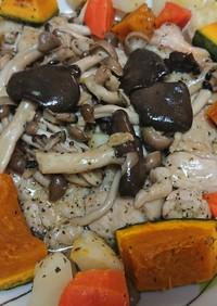 鶏むね肉のキノコソテー 温野菜添え