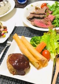 ハンバーグで夕飯・誕生日ディナー定番
