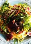 カツオタタキのパスタ柚子胡椒風味♪