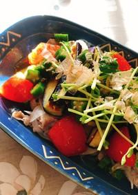夏野菜と冷しゃぶのさっぱりポン酢