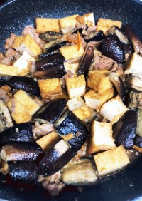 簡単★豚肉とナスの厚揚げ入り味噌炒め